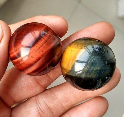 72.5g 2pc Natural Red and Yellow Tiger's Eye Crystal Sphere Ball Healing P0818