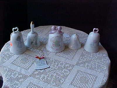 Precious Moments Bells Lot of 6 Three are Christmas Voice of Spring Sew in Love