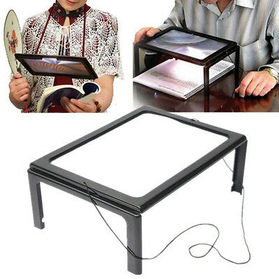 Full Page Magnifier Led Light Holder Magnifying Glass Book Reading Aid Lens Mast