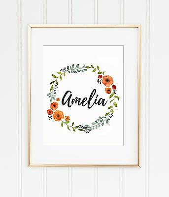 Custom Personalised Baby Name Watercolour Floral Wreath A4 Wall Art Print Poster