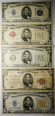 Collection of Five different EARLY $5 dollar Notes North Africa Silver US Nat