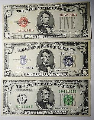 $5 Set 1928 & 1934 CRISP FIVE DOLLARS USA SILVER Certificate Note OLD Currency