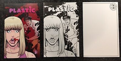 Plastic #1 Image 25th Anniversary Blind Box Color, B & W, and Blank Sketch LOT