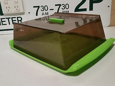 vintage retro LIME GREEN 70s plastic Decor lidded cake party tray kartell-era