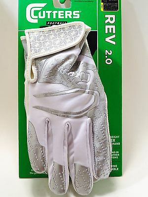 Cutters REV 2.0 Football Receiver Gloves S251 White Adult Med,  Large,  X-Large