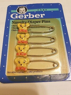 NIP~4 RARE NOVELTY YELLOW TEDDY BEAR GERBER DIAPER PINS-ship free