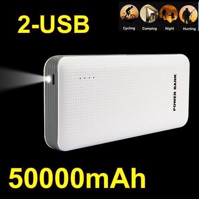 Portable Slim 50000mAh LED Power Bank External 2USB Battery Charger For Phone