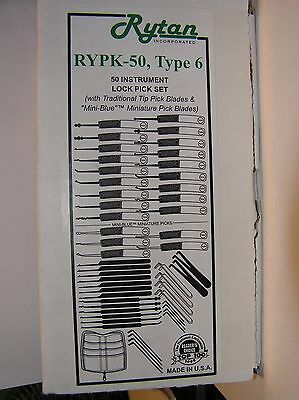 Rytan 50 piece RYPK-50  Type 6 Lock Pick Set Locksmith Tools Made in USA