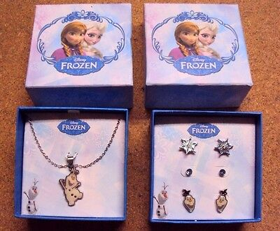 Lot 2 Gift Box Girl Disney Frozen Olaf Earring&Necklace Set Authentic US License