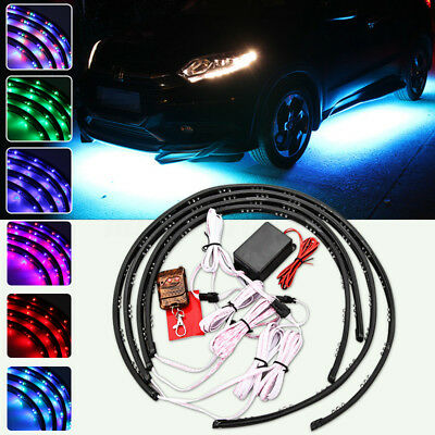 4x 7 Color 180 LED Under Underbody Car Glow Neon Light Strip Kit Remote Control