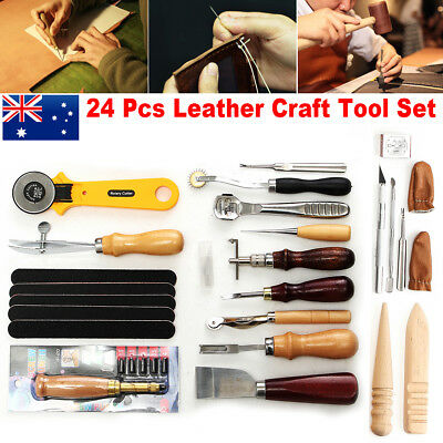 24p Leather Craft Working Tool Kit Punch Stitching Carving Sewing Saddle Groover