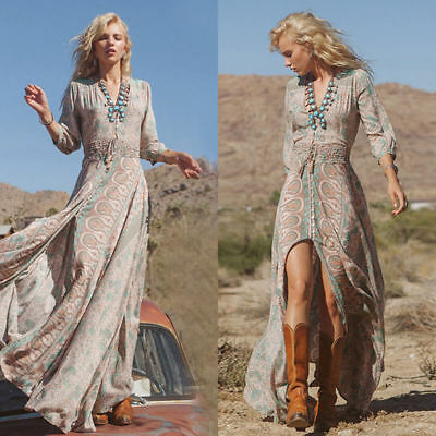 Women Summer Boho Chiffon Party Evening Beach Dresses Long Maxi Dress Sundress I
