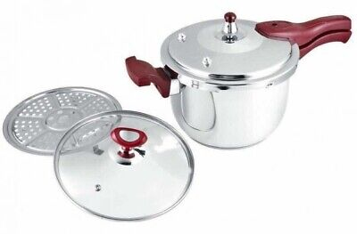 Dessini 11 Litre Pressure Cooker 18/8 Stainless Steel Brown Colour Handles..