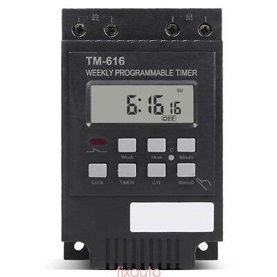 Programmable Digital Timer Switch Time Relay Control 12V DC 30A Din Rail Mount /