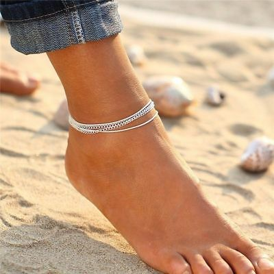 Silver Ankle Bracelet 4 Layer Womens Anklet Chain Adjustable Beach Alloy Jewelry