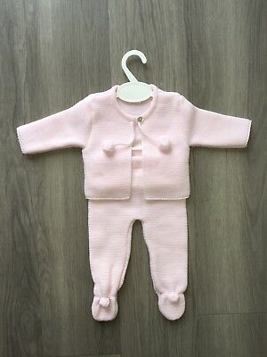 Traditional Spanish Style Baby Knit Pom Pom Leggings & Cardigan. Pink 0-3 Months