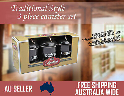 Set of 3 Canister Colonial 1 Litre Black - Coffee Tea and Sugar