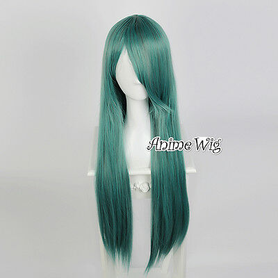 Dark Green Long 80CM Lolita Straight Fashion Women Cosplay Wig + Wig Cap