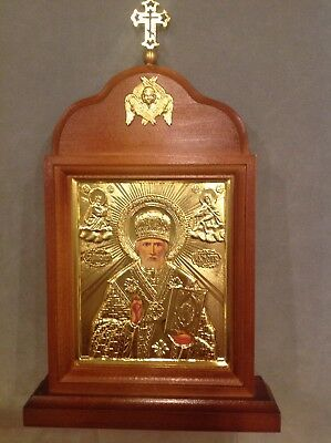 """Russian Icon Golden St.Nickolas The Wonderworker Kyoto-Stand House 10"""" x 6"""""""