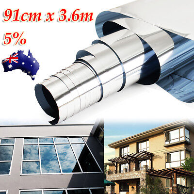 5% Mirror Silver Solar Reflective Window Film One Way Privacy Sticker 90cmX 3.6m