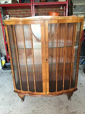 Antique Art Deco Bow-Fronted Walnut Display Cabinet