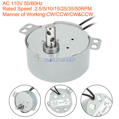 AC 110V 50/60Hz 4W 50RPM Synchronous Motor Output Speed Reduction Geared Box