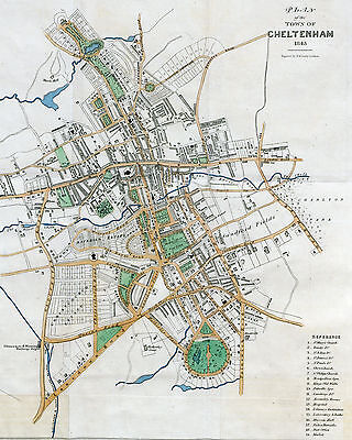 Map of Cheltenham England Reproduction 1843 8 X 10 Print
