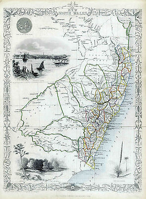 Map of New South Wales Australia Reproduction 1851 Print