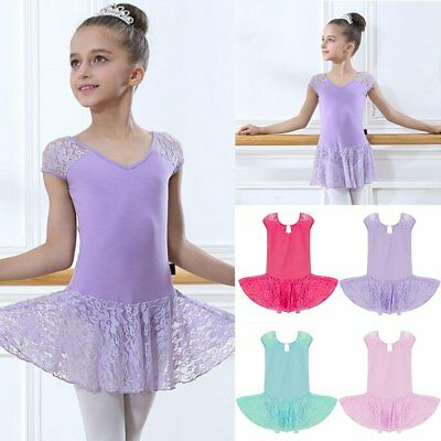 Girls Kids Lace Gymnastics Dance Dress Ballet Tutu Skirt Leotard Dancewear 4-12Y