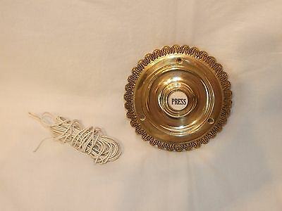 """Large Antique Brass Door Bell porcelain """"PRESS"""" Button (New Old Stock)"""