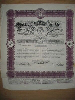 Republica Argentina  1911 uncancelled / Coupons  Gold-Bond