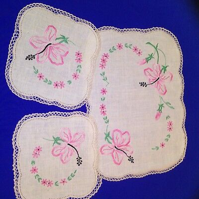 Set Of 3 Pink Flowery Design Embroidered Doilies / Doily