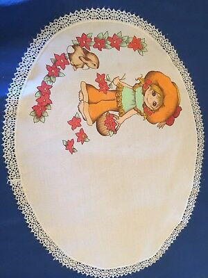 Vintage Girl  Flowery Design PRINTED  Doilies / Doily