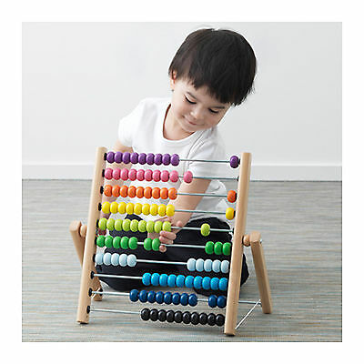 10 Row Wooden Abacus Beads Counting Number Kid Math Learning Teaching Toy IKEA