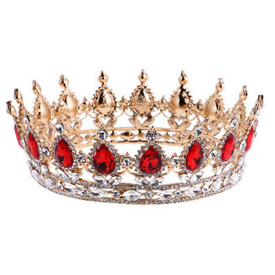 Baroque Ruby Queen Crown Tiara Wedding Bride Headpiece Girl Pageant Costume