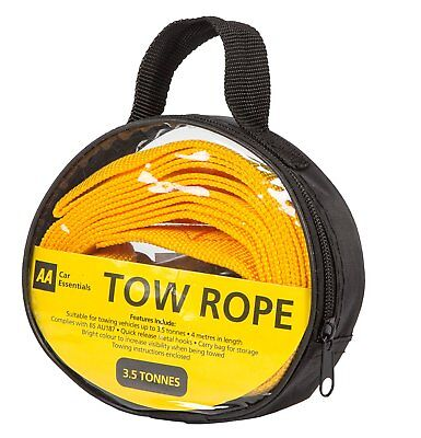 AA Official Car Essentials Strap-Style Tow Rope 3.5 Tonnes 4 Meters Breakdown