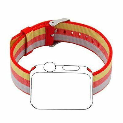 Apple Watch Band 38mm Sport Woven Nylon Fabric Stainless Steel Buckle RedRainbow