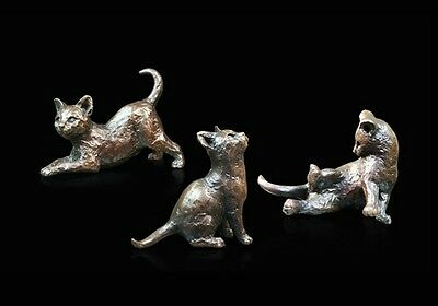 Three Little Kittens Solid Bronze Foundry Cast Sculptures Michael Simpson [738]