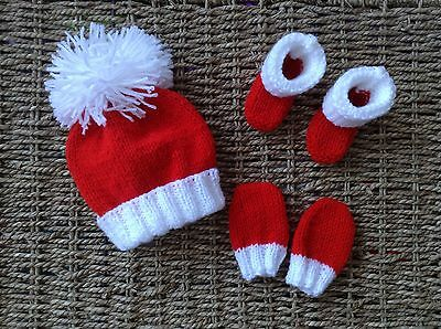 Hand Knit Newborn Baby Santa  Red And White  Hat Mitts,and Booties Set