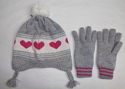 CARTER'S Girls Heart Peruvian Hat and Glove Set Gray W/ Pink Hearts Size 4-8