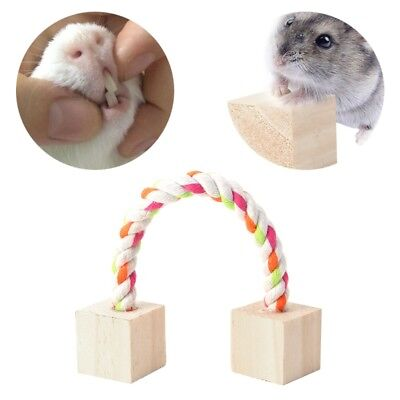 Rope Wood Blocks Hamster Chew Toy Mouse Guinea Rat Hedgehog Exercise Play Toys