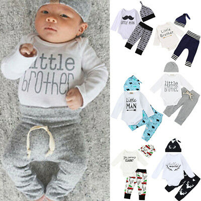 3PCS Newborn Baby Kids Girl Boy Long Sleeve Romper Tops+Pants+Hat Outfit Clothes