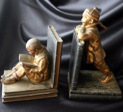 Vintage RONSON Chinese Asian Children Metal Bookends