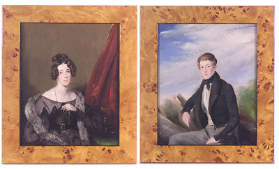"""Charles Hayter-Attrib. """"Two Family Portraits"""", Oil Paintings,  Early 19th C."""