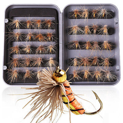 Fly Fishing Flies Bass Trout 40pcs with Plastic Fly Box Tackle Pike Salmon Flies