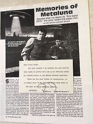 """Rex Reson signed card and article about """"This Island Earth"""""""