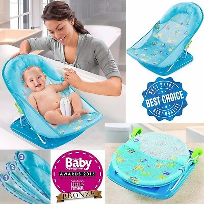 Infant Baby Bather Deluxe Blue Bath Tub Wash Foam Backrest Support Washing Baby