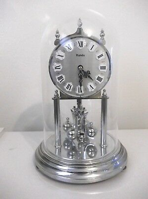 vintage antique Kundo silver gold Anniversary clock dome , germany