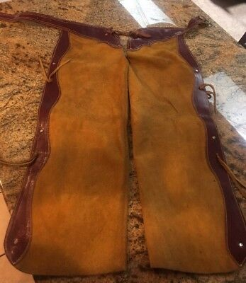 "Vintage Tan Suede Leather Fringe Real Cowboy Chaps Waist 26""-34"" Pre Owned"