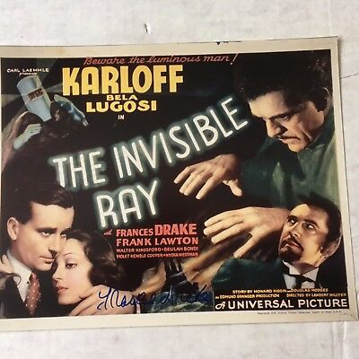 Frances Drake signed color reproduction The Invisible Ray with Karloff/Lugosi